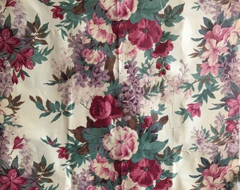 French Printed Cotton Floral Fabric Beautiful 19th C 2771