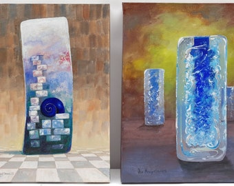 Vintage paintings, one depicting whirlpool vases by famous Czech glass maker Frantisek Vizner
