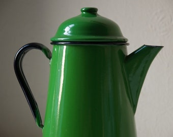 Vintage green Polish metal coffee pot. Retro home decor
