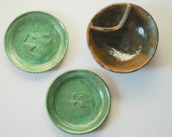 ASSORTED STUDIO POTTERY 2 small dishes & 1 bowl. Green brown blue shades