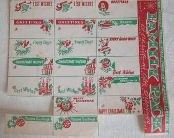 Vintage Christmas gift tags, present dressings