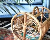Bamboo Magazine Holder Bentwood Rattan Wicker Round Vintage Boho Bohemian (BAS48)