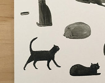Cool black cats card cats walking sitting chillin