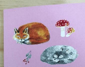Cute pink fox card sleepy foxes