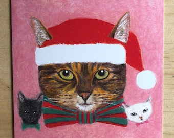 Funny Cute Tabby Cat Christmas card for Cat lovers, Australian Christmas, cat gifts