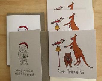 Australian animals Christmas card bulk 5 card pack