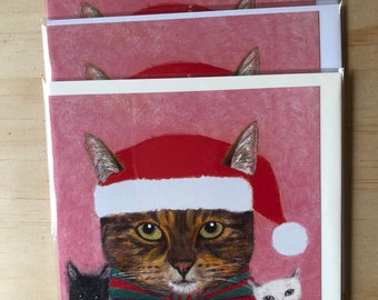 Set of 3 cute funny cat Christmas cards