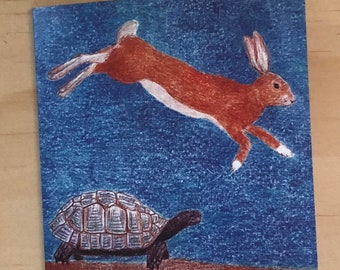 Tortoise and Hare, Birthday Card, All Occasions, Rabbit and turtle card, Rabbit lovers card, Bunny lovers, Gifts for bunny lovers