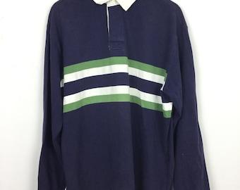 3f7728e8d Vintage LL Bean Rugby Shirt Size L 90s Hip Hop Swag