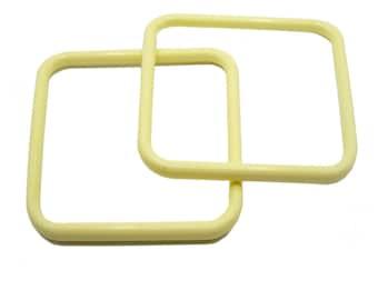 7-inch Yellow Macramé Craft Frames x 2, Vintage Rings