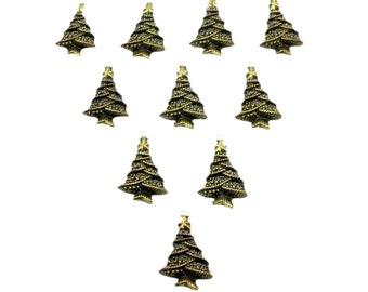 25 mm Tree Charms x 10, Metal Charms, Holiday charms