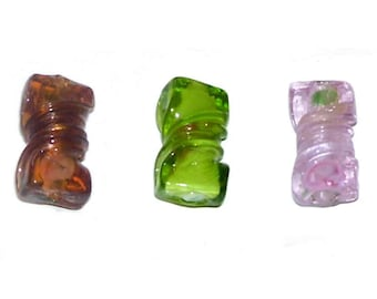 Glass Twist Beads x 12