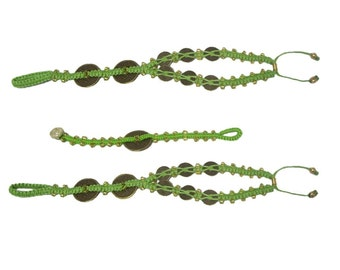 Chinese Coin Barefoot Sandals, Micro-Macramé Jewelry, Foot Jewelry