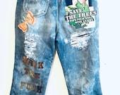Vintage Lee high waisted patchwork denim jean capris