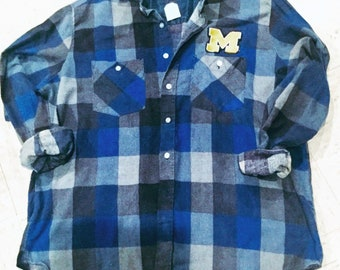 Upcycled vintage grunge Flannel #goBlue #michigan