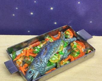 Doll house miniature fish, handmade, polymer clay food. 1:12th scale, baked salmon and vegetables