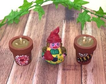 Dolls house garden, miniature gmomes, fairy garden, doll house garden accessories, 1/12th scale candles, miniature garden.