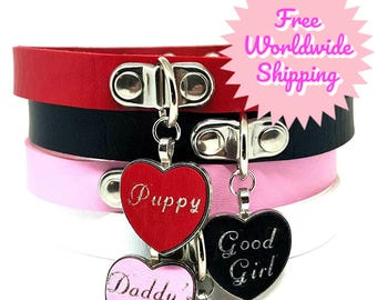BDSM DDLG ADBL Custom Personalized Heart Bondage Choker Collar Faux Leather with Printed Slave Owned Pet Brat Whore Sissy Kitten Tag Pendant