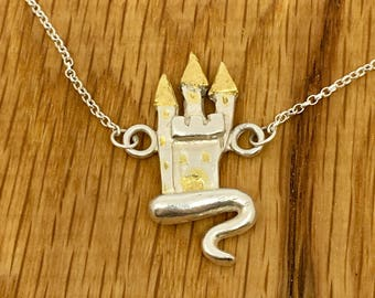 Fairy Castle pendant, Gold and silver jewellery, Silver, gold, fairy castle, castle necklace, fairytale jewellery, silver castle necklace