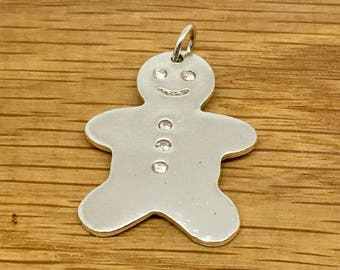 Handmade silver Gingerbread man pendant with swarovski detail, Silver Gingerbread man pendant, Gingerbread man pendant, Gingerbread man
