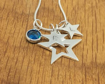 Personalised silver star stacking necklace, stacking necklace, silver star, personalised silver necklace, gift for mum, personalised present