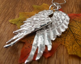 Solid Silver Angel Wing long necklace, Silver Angel Wings, Double Angel Wings, Statement, Angel Wings, Angel Wing pendant, Personalised