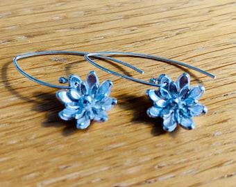 handmade silver flower drop earrings, feminine earrings, flower earrings, silver flower drop earrings, unusual drop earrings