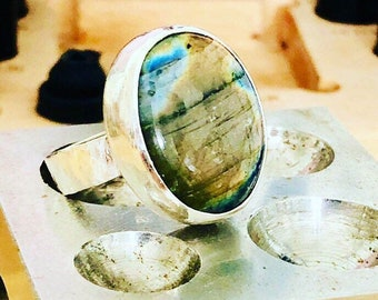 Labradorite statement ring, large silver labradorite ring, labradorite, silver, ring, statement, jewellery, size Q. chunky ring