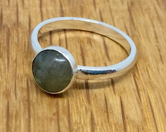 Labradorite stacking ring, stacking ring, Labradorite cabochon ring, Labradorite, sterling silver, Stacking ring, stacking ring, size 0