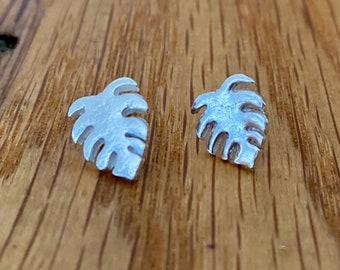Silver Monstera Leaf Earrings, Monstera Leaf stud earrings, quirky silver earrings, Silver Cheese plant stud earrings, tropic earrings
