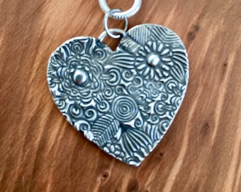 Large floral pure silver heart pendant, Can be personalised, Personalised big silver heart necklace, unique heart