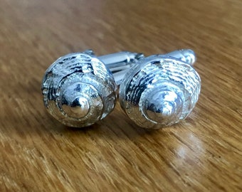 Silver Shell cufflinks, Dad gift, gift for dad, groom gift, seashell cufflinks, silver cufflinks, special dad gift, cufflinks, wedding