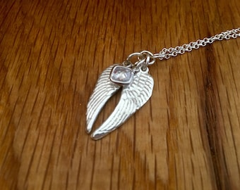 Silver angel wings necklace, angel wings pendant, can be personalised,  Angel Wing Necklace, silver, swarovski, gandmade, unique