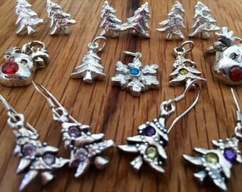 Silver Christmas tree pendant, Christmas tree pendant, Christmas Tree charm, Silver Xmas tree charm, Xmas tree, charm, Xmas tree pendant