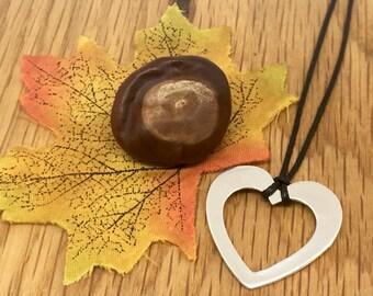 Silver Heart Outline Choker, Silver Heart choker, Heart choker, Pure Silver, Statement heart necklace, Heart outline, Heart outline charm