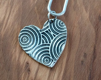 Swirly Pure Silver Heart pendant, Silver heart Gift, for the one you love, handmade silver jewellery, Pure silver, gift for her