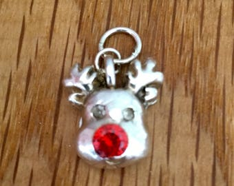 Sale - Silver Rudolf pendant, Silver Rudolf necklace, silver Rudolf, Rudolf, Silver, Christmas jewellery, Reindeer, red nose, Christmas