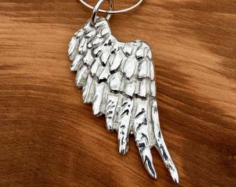 Large Silver Angel Wing pendant, Large Personalised Silver Angel Wing Necklace, Hallmarked, Statement Angel wing, Angel wing, Personalised