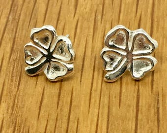 Good luck gift, Lucky Shamrock stud earrings, Silver Lucky Shamrock earrings, Silver Lucky Shamrock, Shamrock, studs, earrings, Good fortune