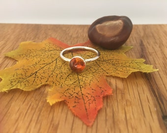 Pretty Amber ring, stacking Amber ring, Amber ring, sterling silver, Stacking ring, size U, Taurus ring, Amber, Hallmarked, gift for her