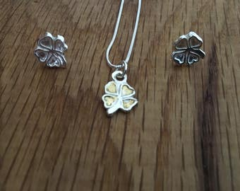 Silver and Gold Shamrock pendant, Lucky Shamrock jewellery, Shamrock, Gold Shamrock, Silver Shamrock, Lucky jewellery, silver jewellery