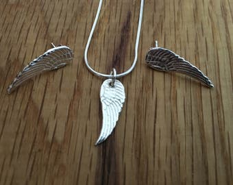 Silver angel wing pendant, angel wing pendant, angel wing necklace, silver angel wing charm, angel wings, angel, wing, charm, gift for her