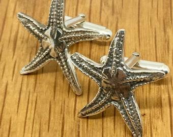 Solid Silver Starfish Cufflinks, Silver starfish cufflinks, Silver, Starfish, Cufflinks, Handmade, silver starfish cufflinks