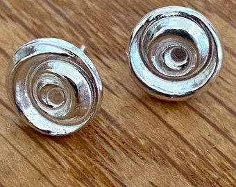 Silver rose studs, Swirly circle studs, Pure silver stud earrings, silver studs, handmade, pure silver, rose studs, gift for her,silver stud