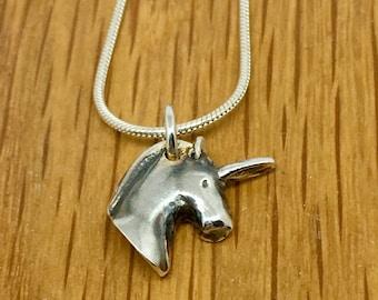 Handmade silver unicorn head charm, unicorn head pendant, handmade, silver, unicorn, necklace, charm