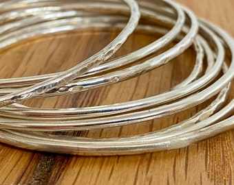 Sterling silver bangle, thin sterling silver bangle, stacking bangle, silver sterling stacking bangle, gift for friend