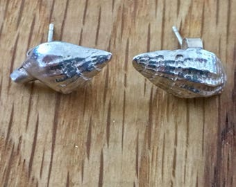 Handmade Silver Shell stud earrings, silver, shell, studs, Dorset, seashell, earrings, gift for her, his and her jewellery, matching