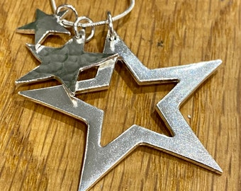 Statement Silver Star stacking necklace, silver star stacking necklace, statement  Christmas jewellery, unusual star necklace