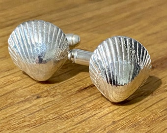 Silver cockle shell Cufflinks, cockle shell cufflinks, Silver cockle Shell, Cufflinks, Handmade silver cufflinks, anniversary gift,