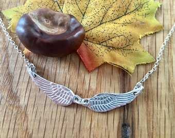 Silver angel wing choker, silver angel wing necklace, angel wings, baby loss, jewellery, delicate choker, personalised remembrance jewellery